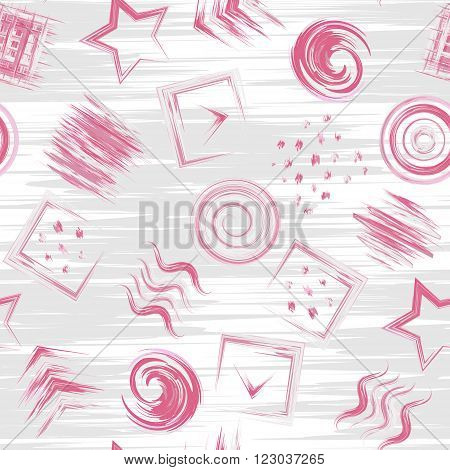 Seamless geometric grunge hand drawn paint brash pattern in vector. Square wave circle swirl star dot background