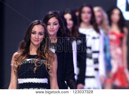 Sofia Bulgaria - March 23 2016: Models walk the runway at Sofia Fashion Week runway show. The fashion show is held for a second time in Bulgaria's capital.