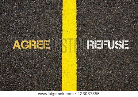 Antonym Concept Of Agree Versus Refuse