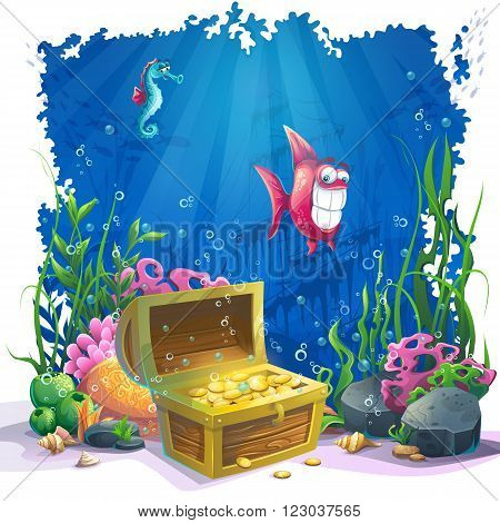 Beautiful coral and colorful reefs fish and gold chest on sand. Vector illustration of sea landscape