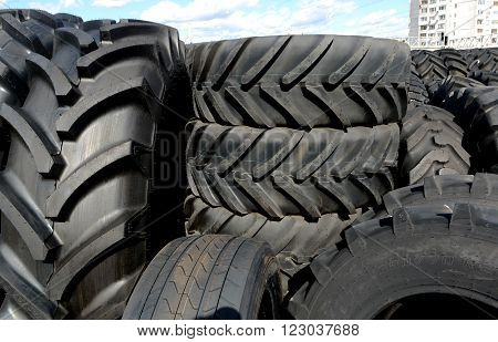 Tires stacked in a yard on April 2, 2015 in Sofia, Bulgaria