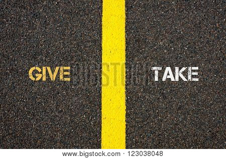 Antonym Concept Of Give Versus Take