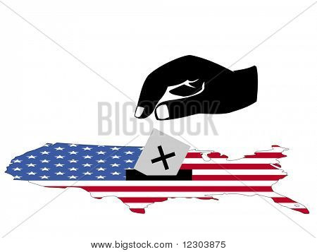 hand voting in American election with map and flag of USA illustration JPG