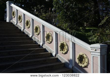 Detail of steps and balustrade on the Albert Bridge in London, England