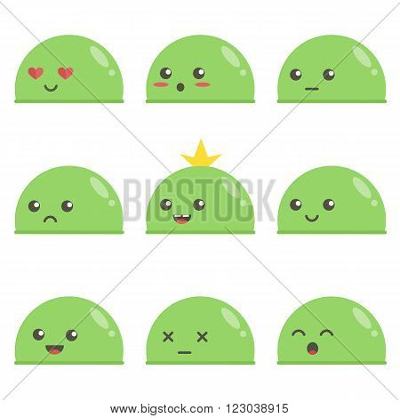 Set of cute green slimes. Game characters. Different facial expressions.