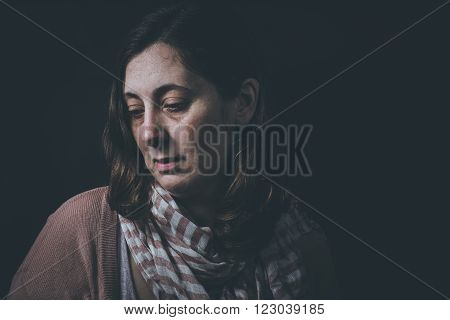 Womans stuggling from fear, loneliness, depression, abuse, addiction