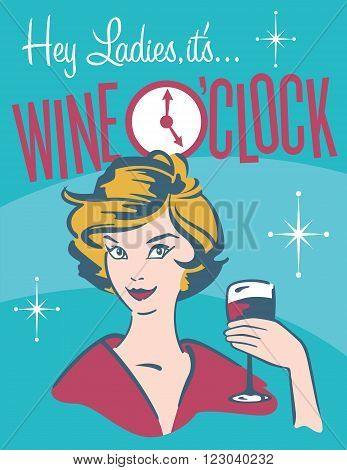Wine O'clock retro wine design