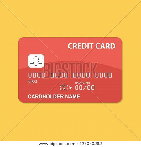 Flat design red credit card on yellow background.
