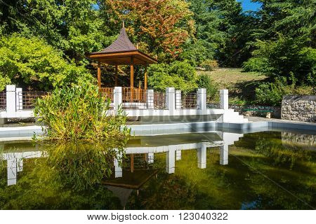 Gazebo And Pond In The Park-the Arboretum Of Sochi.