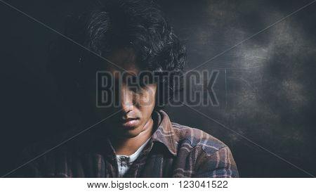 the man Fear, sadness, abuse, depression, addiction