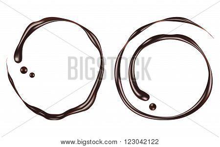 Chocolate swirl isolated on white background. Vector Illustration