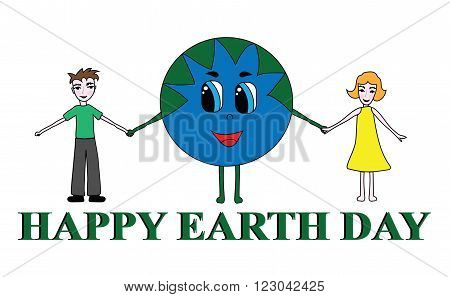 Illustration of a Happy Earth Day. Kids with Earth for Peace Day.