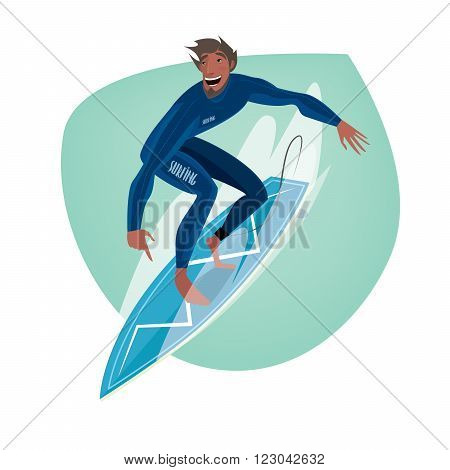 Isolate clip art on white background with happy man in blue dive skin standing on a surfboard - Sport or leisure concept