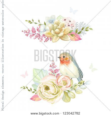 Decorative holiday ornaments of flowers ranunculus, succulent plant, bird Robin, leaves and branches. Floral vector illustration in vintage watercolor style with silhouette butterflies.
