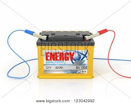 car battery isolated on a white background, 3D Illustration