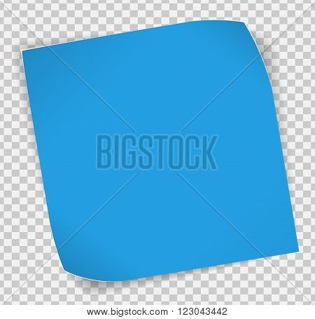 Blue paper curled sticker with shadows over transparent background. Vector EPS10.