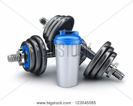 Dumbbells on white background (done in 3d)