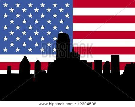 Dallas Skyline with American flag illustration  JPG