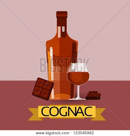 Cognac Bottle With Chocolate Alcohol Drink Icon Flat Vector Illustration