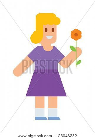 Girl with beauty flower and girl with bouquet flower happiness. Girl with beauty flower character spring kid. Little blonde cute girl in dress with colorful flower cartoon character vector.
