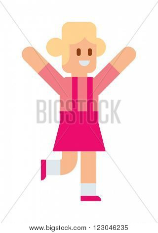 Running girl in sportswear jogging alone and running girl exercise fitness. Running girl outdoor active lifestyle. Activity health girl. Little girl running training athlete healthy concept vector.