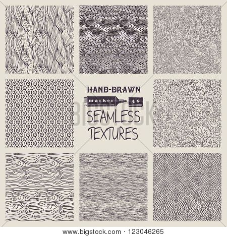 Set of hand drawn marker and ink seamless patterns. Simple vector scratchy textures with dots strokes and doodles.