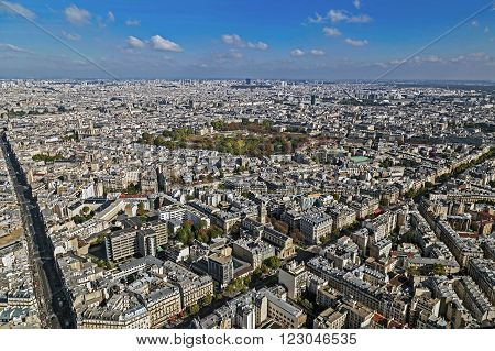 Panorama and aerial view of Paris from Montparnasse tower.