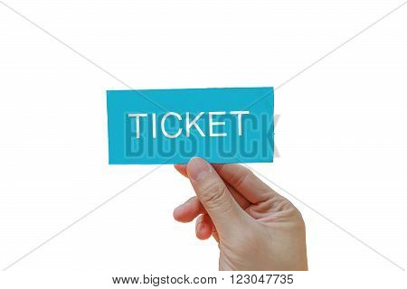 Right hand is holding a blue card ticket isolated on white background