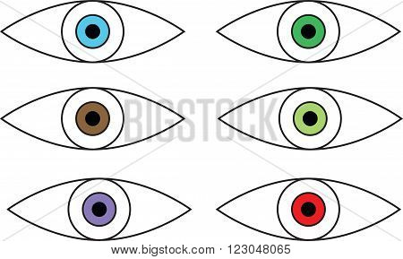 Set of six eyes of different colors isolated on white background