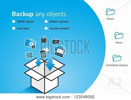Vector illustration. Flat cloud computing background. Data storage network technology. Multimedia content and web sites hosting. Memory and information transfer. Security and protection. Cloud service.