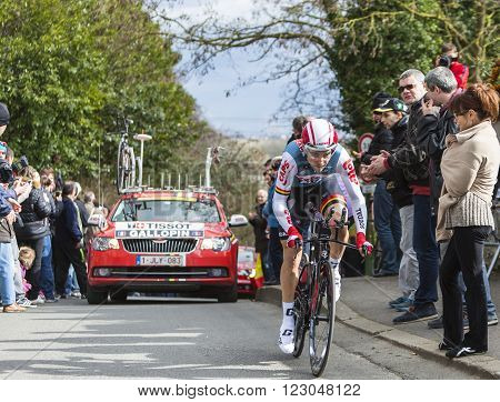 Conflans-Sainte-HonorineFrance-March 62016: The French cyclist Tony Gallopin of Lotto-Soudal Team riding during the prologue stage of Paris-Nice 2016.