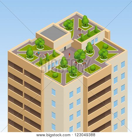 Green roofs, roof garden, eco roof. Flat 3d vector isometric illustration of eco roof