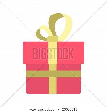 Pink gift box with a colden ribbon icon in flat style isolated on white background