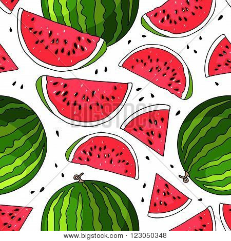 Seamless vector pattern of watermelon on a white background. Elements for design. Juicy watermelon