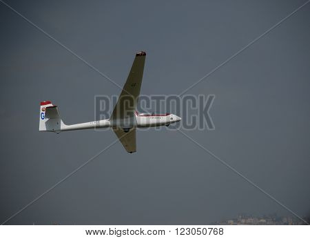 ANKARA/TURKEY-MAY 6, 2012: Sailplane over the THK Etimesgut Airport during the air fest. May 6, 2012-Ankara/Turkey