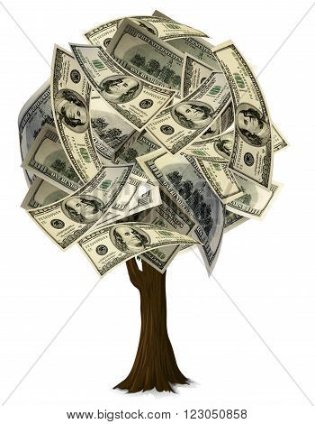 A graphic of a round shape tree with $100 leaves