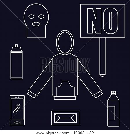 All you need to be a protester items laid out in a flat style include a hoodie, aerosol can, smartphone and placard