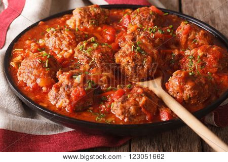 Meatballs With Spicy Tomato Sauce On A Dish Close-up. Horizontal
