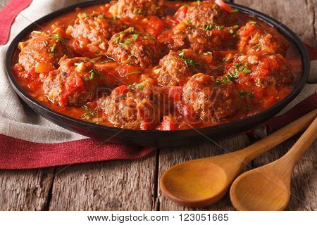 Tasty Meatballs With Spicy Tomato Sauce On A Dish Close-up. Horizontal