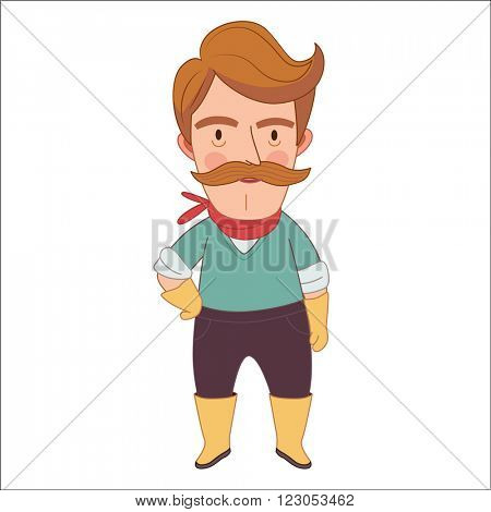 Gardener, vector illustration, a middle aged man wearing moustache, gloves and rubber boots, a part of Dodo people collection
