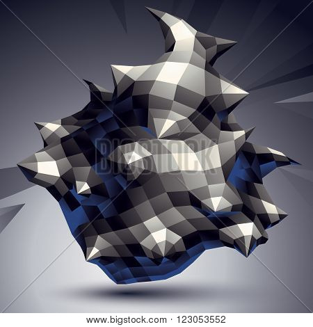 Vector Digital 3D Abstraction, Geometric Polygonal Element. Spatial Technological Contrast Shape Per