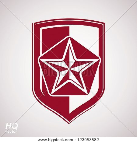 Vector shield with red pentagonal Soviet star protection heraldic blazon. Ussr design element.