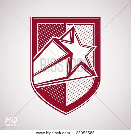 Vector military shield with pentagonal comet star protection heraldic sheriff blazon. Ussr conceptual symbol. Forces graphical coat of arms. Soviet Union theme.