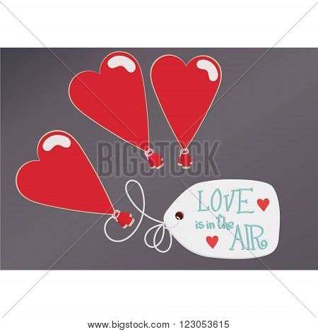 Three heart balloon with massage on paper