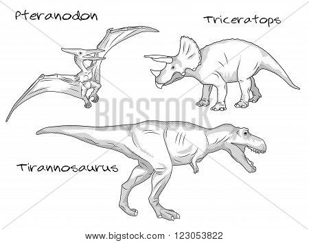 A set of thin line engraving style illustrations of various kinds of prehistoric dinosaurs, it includes pteranodon, tyrannosaurus t-rex, and triceratops
