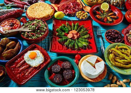 Tapas from spain mix of most popular recipes of Mediterranean cuisine