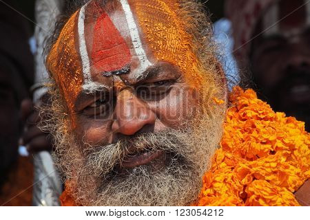 ALLAHABAD, INDIA - FEBRUARY 10, 2013: unidentified Unidentified sadhu (holy man) at the Maha Kumbh Mela Hindu religious festival