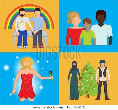Set of four bright vector flat illustrations showing that people have to be tolerant to those who have different skin, religion, love and style preferences