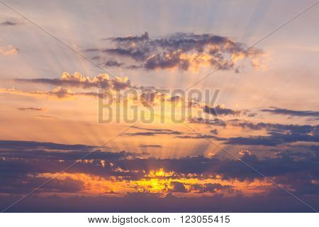 Amazing Sundown Sky with Real Golden Sunbeams, natural background