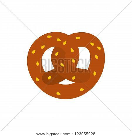 Pretzel icon in flat style isolated on white background